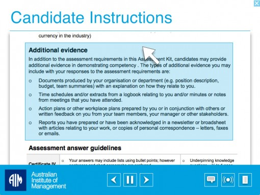 Australian Institute of Management – Assessment Instructional Video