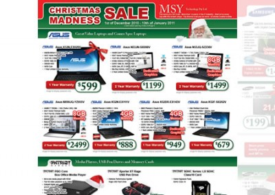 MSY Technology Christmas Madness Sale Catalog 2010